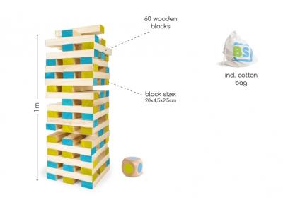 BS Toys Reuze houten stapeltoren met dobbelsteen