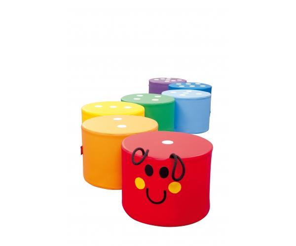 Soft Play poefjes regenboog rups, set van 7